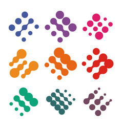 abstract logo set from dots colorful vector image vector image