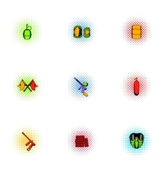 Paintball club icons set pop-art style vector image