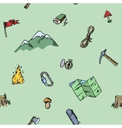 Seamless pattern hand drawn camping adventure set vector image vector image
