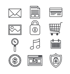 silhouette set icons protection security data vector image