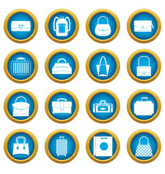 bag baggage suitcase icons blue circle set vector image vector image