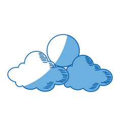 cartoon sun and cloud sky weather icon vector image vector image