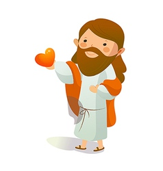 Close-up of Jesus Christ holding heart shape vector image vector image