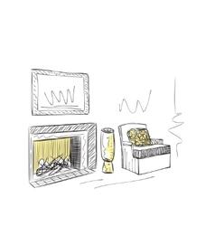 Hand drawn room interior vector image vector image