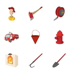 Protection from fire icons set cartoon style vector image