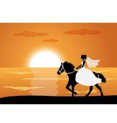 Bride rides a horse vector image vector image
