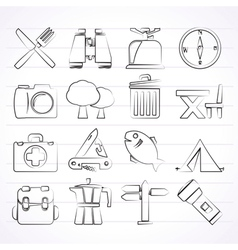 Camping tourism and travel icons vector image vector image