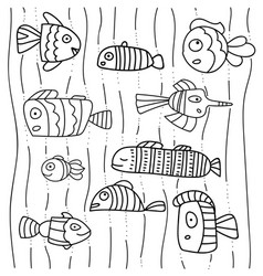 Collection of abstract fish on white background vector