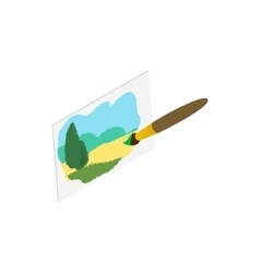 Drawing of landscape icon isometric 3d style vector image