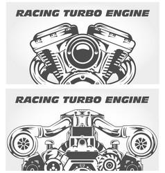 turbocharging racing engine and motorcycle motor vector image vector image