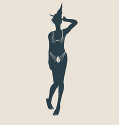 young witch icon witch silhouette vector image vector image