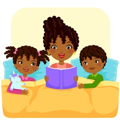 black family reading story vector image