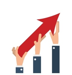 business people hands with arrow up growth vector image vector image