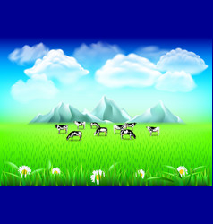 cows on green field realistic background vector image vector image