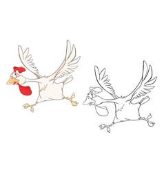 cute cockerel coloring book vector image vector image