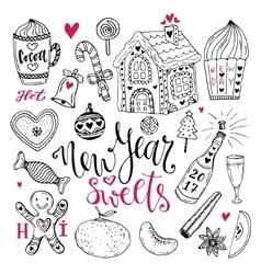 New Year sweets set Christmas hand drawn vector image