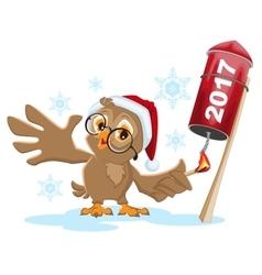 Owl Santa lights rocket fireworks 2017 vector image vector image