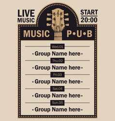 poster for beer pub with live music with guitar vector image vector image