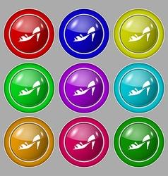 Shoe icon sign symbol on nine round colourful vector image
