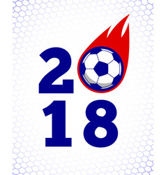 2018 soccer fire ball on white goal net backdrop vector