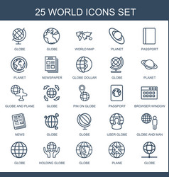 25 world icons vector image