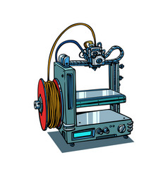 3d printer manufacturing isolated on white vector