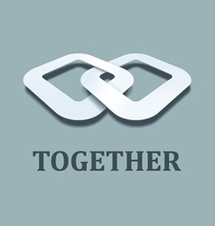 3d together paper icon design template vector image