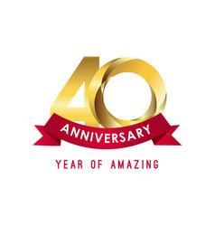 40 year anniversary year amazing template vector
