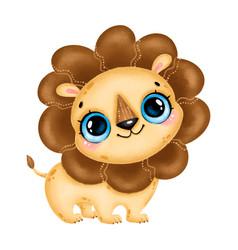 a cute cartoon lion with big eyes vector image