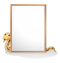 A snake holding an empty whiteboard vector