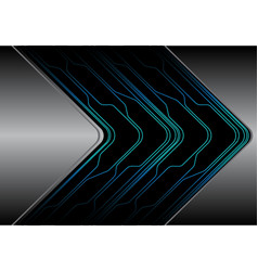 abstract blue line circuit black arrow on silver vector image