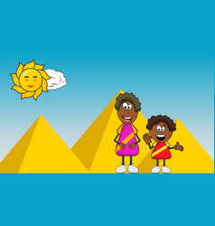 african black boy cartoon with mother on pyramid vector image