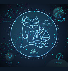 Astrology neon libra zodiac sign funny cat vector