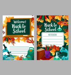 Back to school stationery copybook cover vector