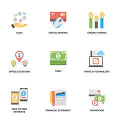 banking and finance flat icons set vector image
