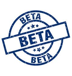 Beta blue round grunge stamp vector