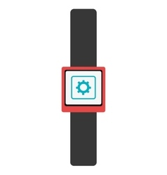 Black watch with red frame and media icon vector