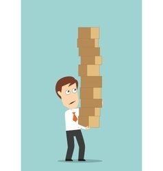 Businessman carrying a high stack of boxes vector