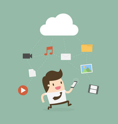 businessman using mobile phone with cloud vector image