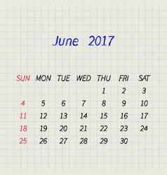 Calendar for june 2017 vector