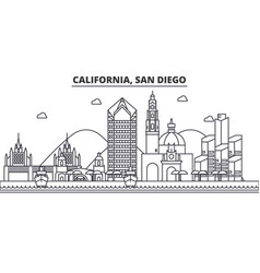 California san diego architecture line skyline vector
