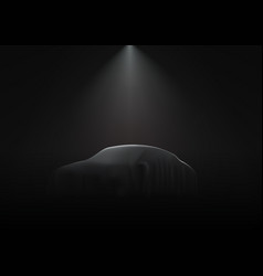 Car is covered with dark cloth on black vector