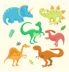Cartoon dinosaurs isolated vector