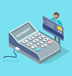 cartoon payment terminal man with debit card vector image