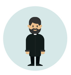 catholic priest standing on blue background vector image
