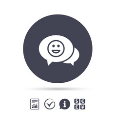 Chat smile icon happy face symbol vector