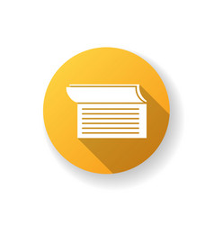 checkbook yellow flat design long shadow glyph vector image
