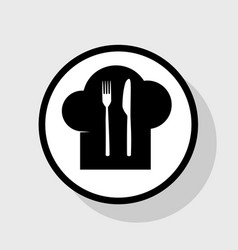 Chef hat and spoon fork knife sign flat vector
