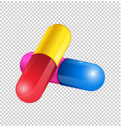 Colorful capsules on transparent background vector