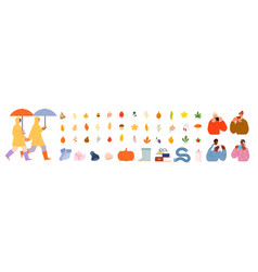 cozy autumn collection cute fall people man vector image